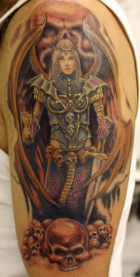Gothic tattoo of warrior  with wings