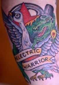Tattoo of goose, crocodile and inscription electric warrior