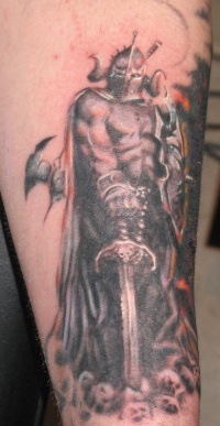 Dark warrior tattoo with big sword
