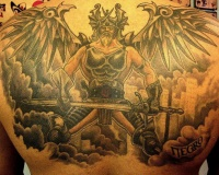 Tattoo of warrior with sword and wings in clouds